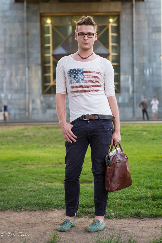 Evgeny: Gorky Park Visitor in USA Shirt