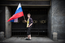 Russian Boy with Flag