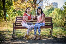 Kyrgyz Relatives Sitting on Bench