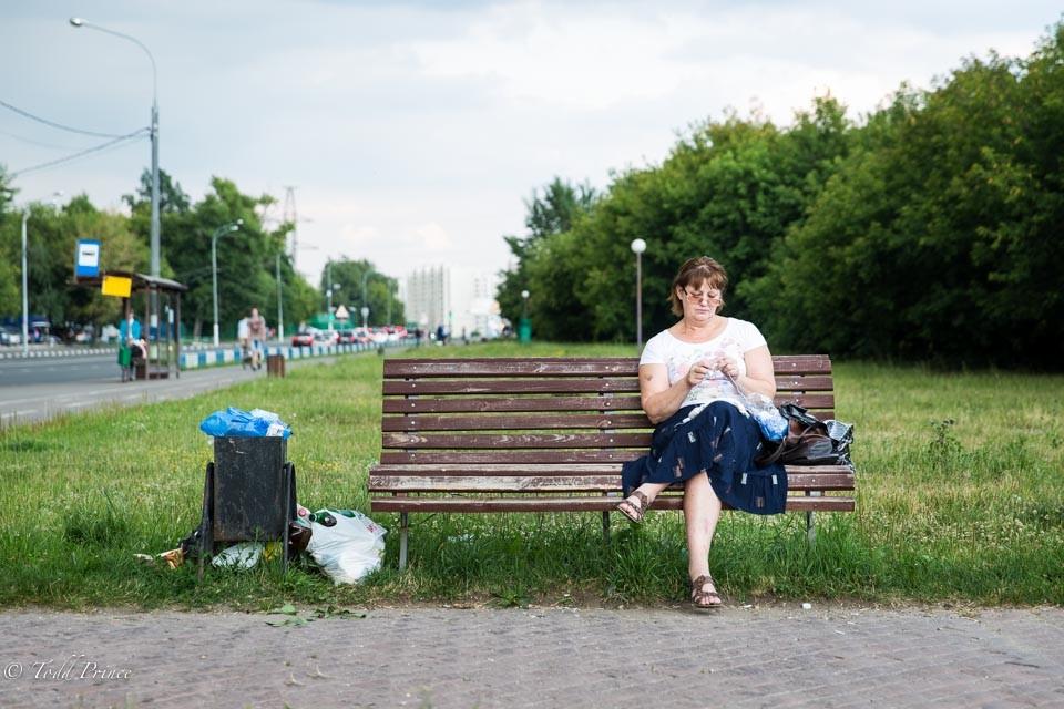 Olga: Grandmother Knitting at Park
