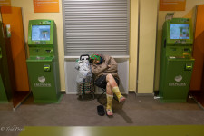Homeless Resting in Bank Branch
