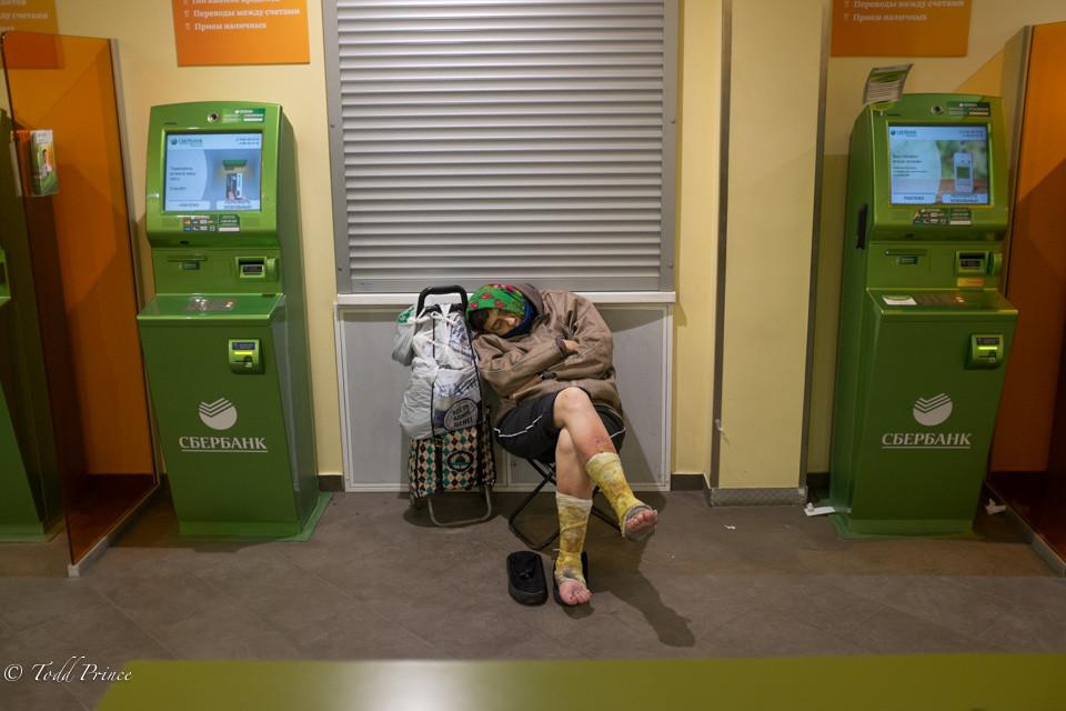 Homeless Sleeping in Bank