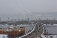 Afternoon view of the bridge leading across the Yenisei in Krasnoyarsk