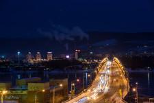 Evening view of the bridge leading across the Yenisei in Krasnoyarsk