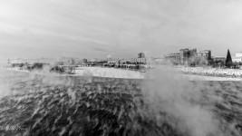 Harsh wind blowing the steam across the Yenisei in Krasnoyarsk