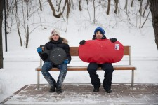 Russian Children Take Pause in Sleighing