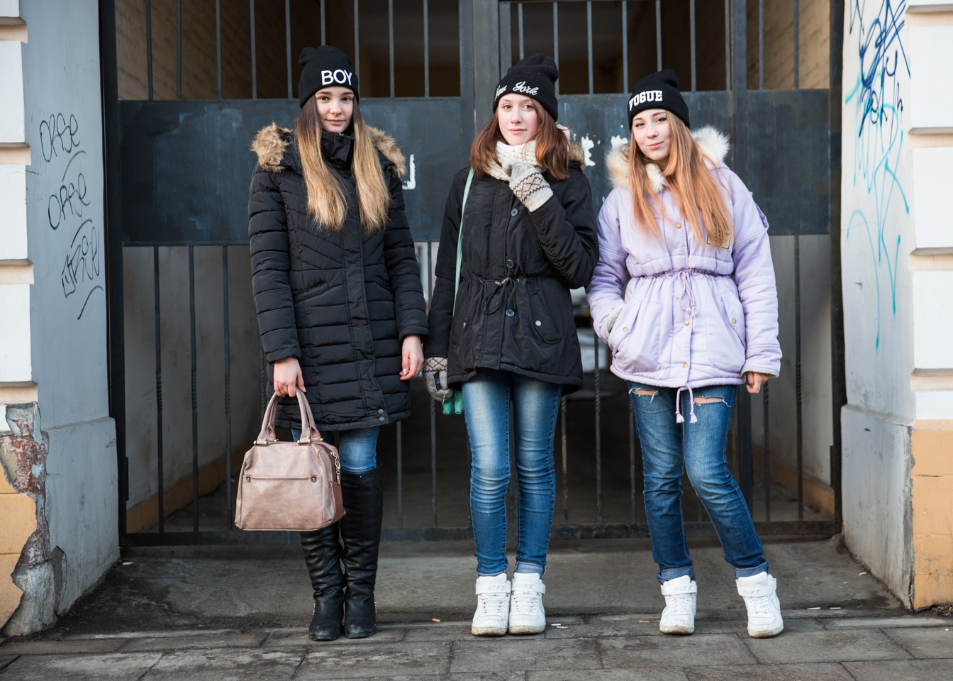 Anya, Nelli and Nastya from left to right