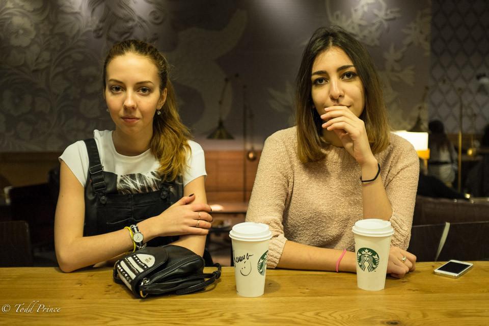 Ksusha & Kristina: Selfies in Starbucks
