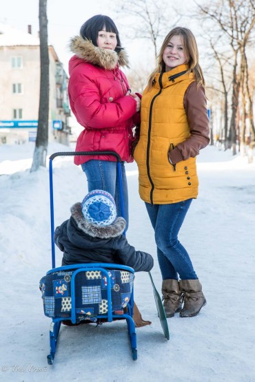 Sakhalin Mother With Baby Sleigh