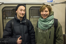 Sergei and Anna on the Moscow metro.