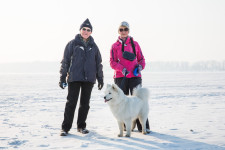 They took a walk back and forth across frozen Volga on Woman's Day.