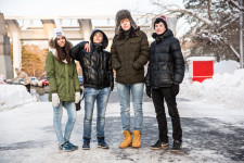 Khabarovsk youth on their way ''to get fresh air'' near the Amur River.
