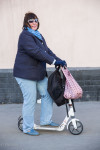 Ludmila said her son gave her the kick scooter about a month ago so she could lose weight.