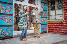 Tanya and Voldemare outside their colorful store in Rostov.