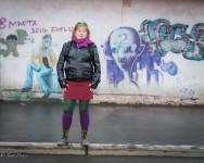 Sasha was colorfully dressed on a gray, rainy day in Irkutsk.