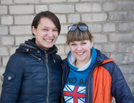 Irina and Irina are studying to be teachers, but Irina on the left will go into the armed forces instead.