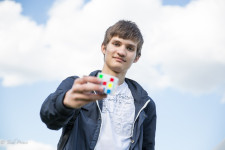 Dmitry at Gorky Park with his Rubik's Cube.