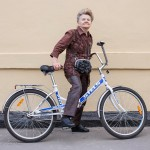Nina still bikes around Moscow at age 70.