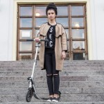 Yulia was riding a foot scooter in Moscow.