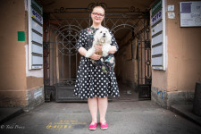 Irina was carrying her dog along Nevsky Prospect.