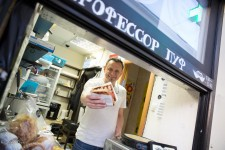 Evgeny, 50, opened his food kiosk two months ago.