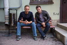 Evgeny, left, opened a barbershop in St. Petersburg with university mate Vladimir.