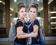 Zhanna and Yana study chemistry.