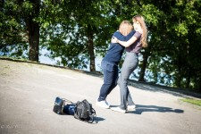 Tatiana and Daria dancing near the Nizhny Novgorod Kremlin.