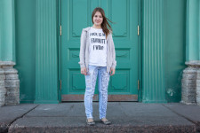 Elizaveta was wearing this t-shirt in the center of St. Petersburg.