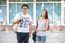 Nadyr and Aidana on their way to English class.