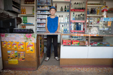 This 12-year old was working a convenience store in a village near Issyk-Kul.