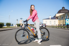 Eva, 16, on her bicycle in Arkhangelsk.