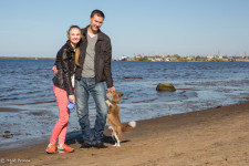 Ilya with his girlfriend Ksenia and dog Lavrenti.