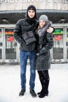 Alina with her boyfriend outside a Novosibirsk metro station.