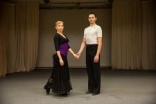 A couple ballroom dancing