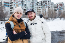 Evgeny, left, with his former dance instructor.