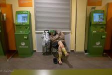 Homeless Resting in Bank Branch