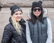 Both Milana and Margo were sporting interesting winter hats.