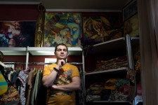 Voldemare sells Asia-themed artwork created by his mother.