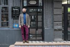 Vadim standing outside Bukovsvsky Restaurant.