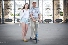 Valery with his daughter Polina, who was bound for a summer job in the US.