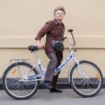 Nina still bikes around Moscow at age 70.