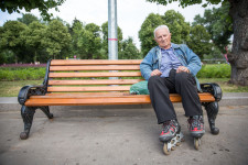 Vladimir, who turns 78 in two months, was rollerblading at Gorky Park.