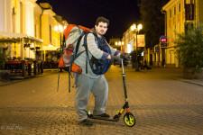 Vsevolod on his foot scooter outside the hostel in Nizhny Novgorod.