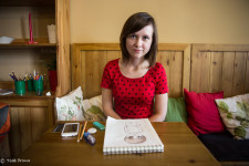 Elizaveta with her drawing in a Arkhangelsk cafe.