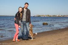 Ilya with his girlfriend Ksenia and dog Lavrenti.
